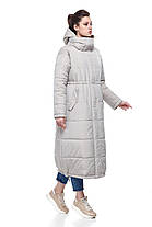 Женское пальто зимнее длинное из плащевки на синтепухе светлое размеры от 42 до 50, фото 2
