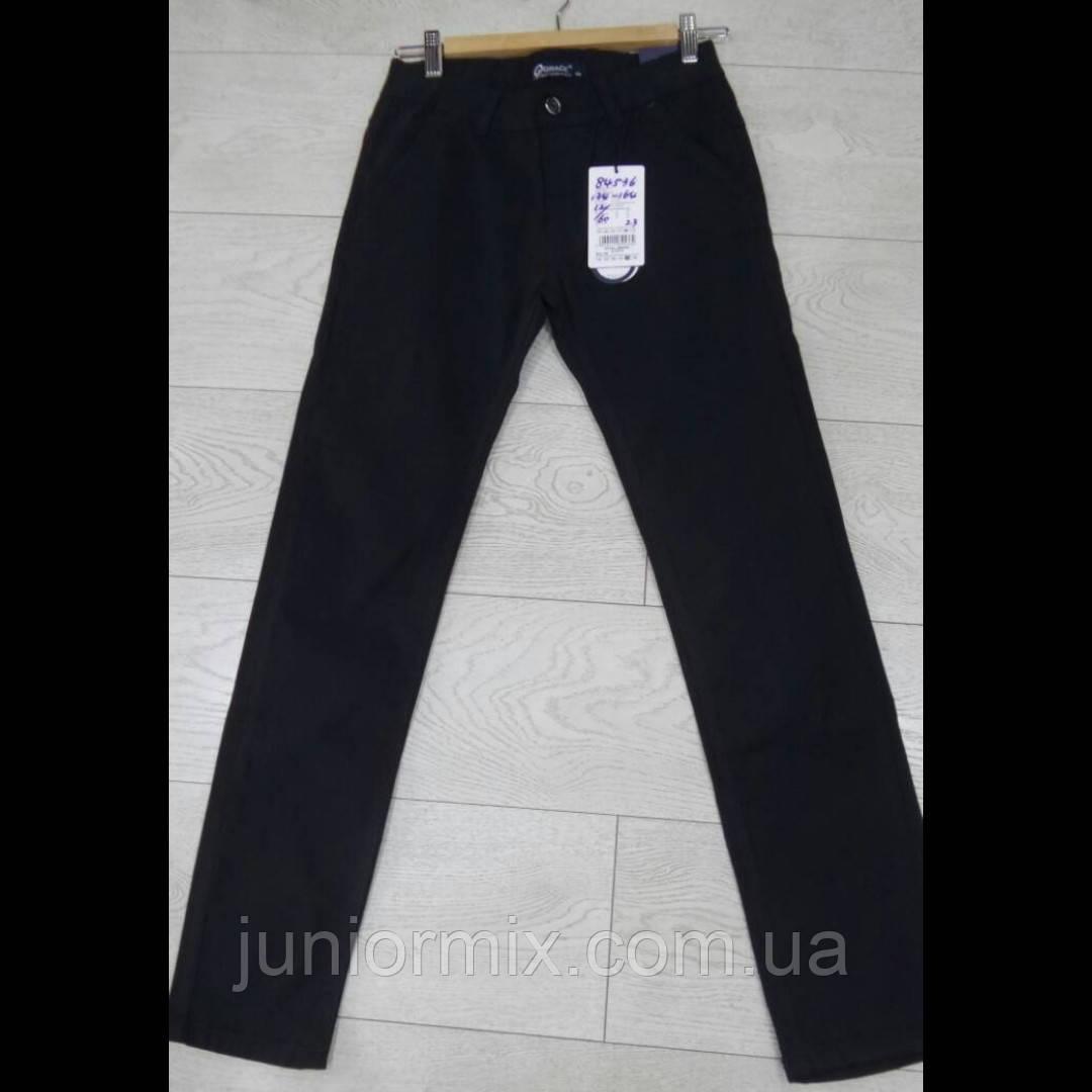 Подростковые черные котоновые брюки для мальчиков оптом GRACE  134---164см.