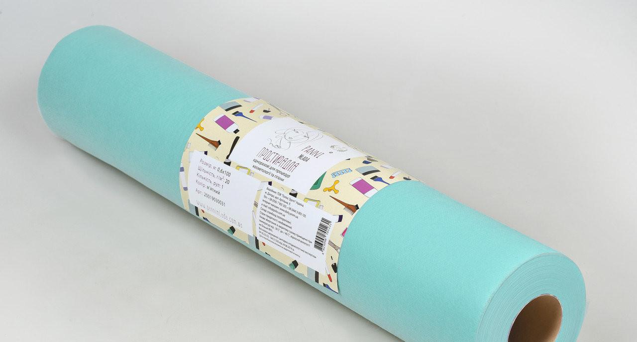 Одноразовая простынь в рулоне Спанбонд Panni Mlada 20 г/м² 0,6x200 м Мятная