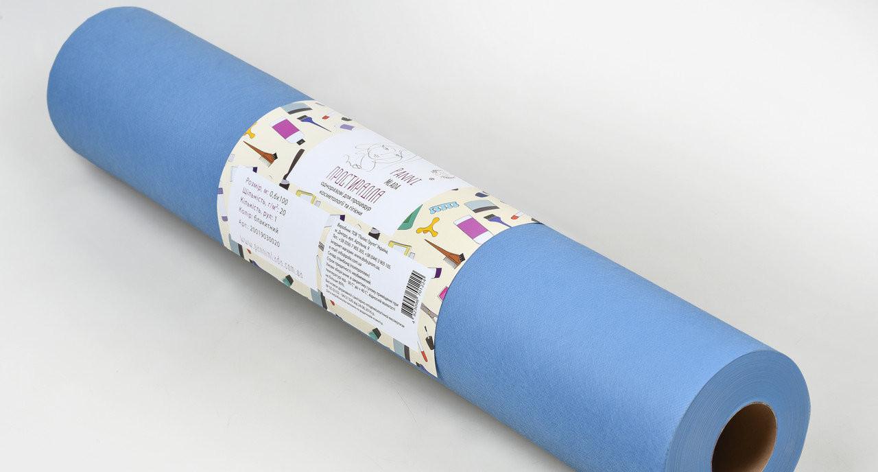 Одноразова простирадло в рулоні Спанбонд Panni Mlada 20 г/м2 0,6x500 м Блакитна