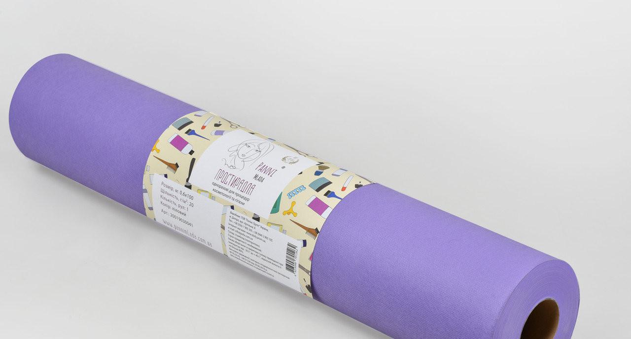 Одноразовая простынь в рулоне Спанбонд Panni Mlada 20 г/м² 0,8x100 м 10 УП 10 ШТ Лиловая