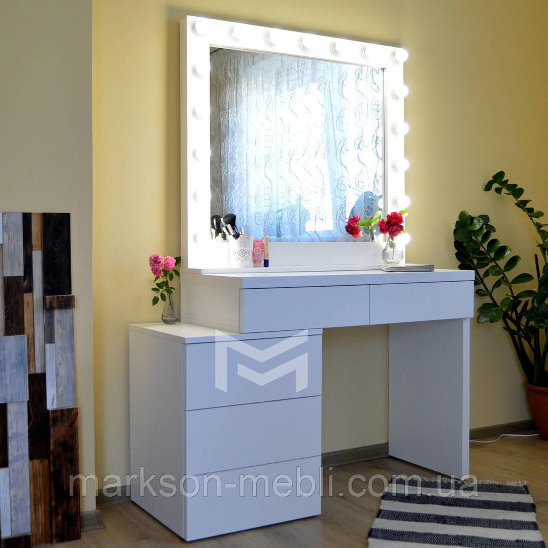 Гримерный стол Milan со смещенной тумбой. Ящики без ручек открываются от нажатия (КЛИК).