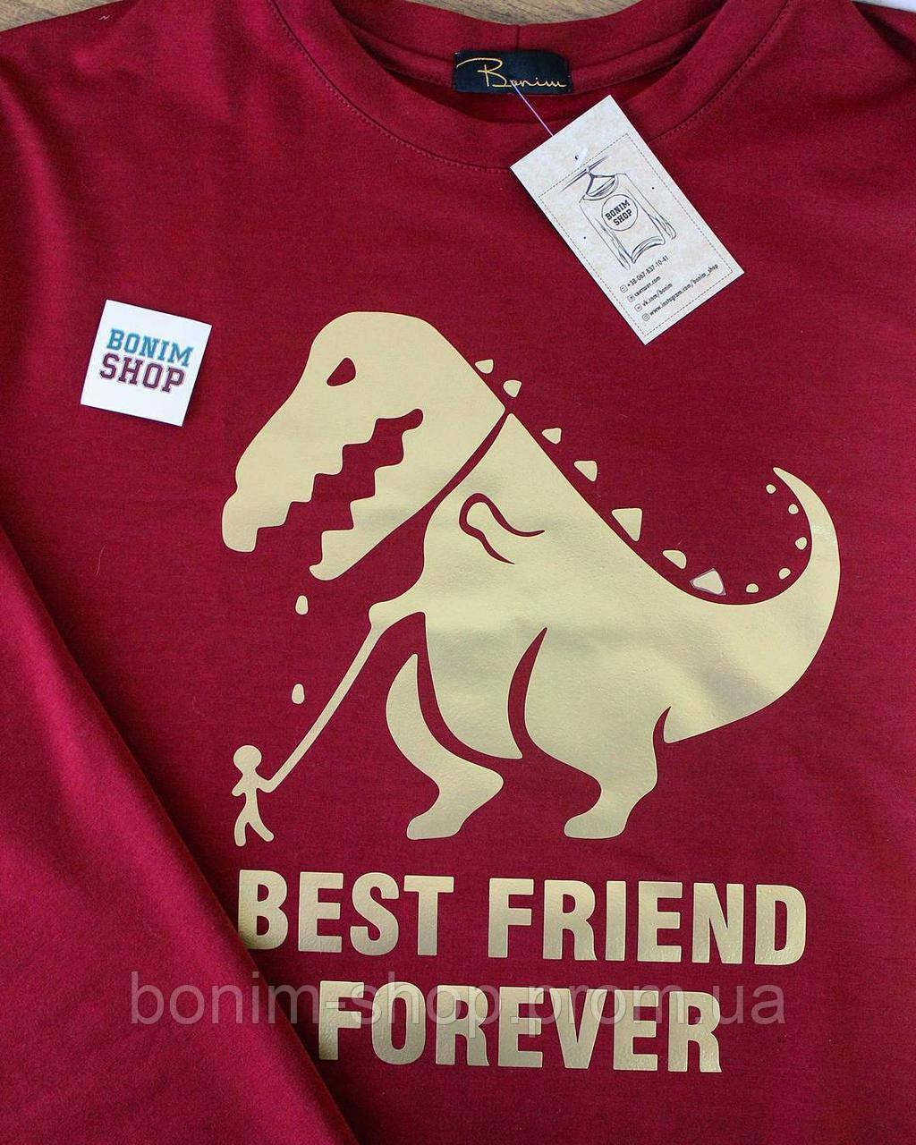 Красный женский свитшот с принтом Best friend forever