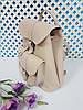 """Рюкзак жіночий """"ВОЯЖ"""" натуральна шкіра, слонова кістка з плетінкою, фото 2"""