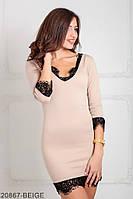 Соблазнительное приталенное платье с V-образным вырезом и кружевной кромкой Donna