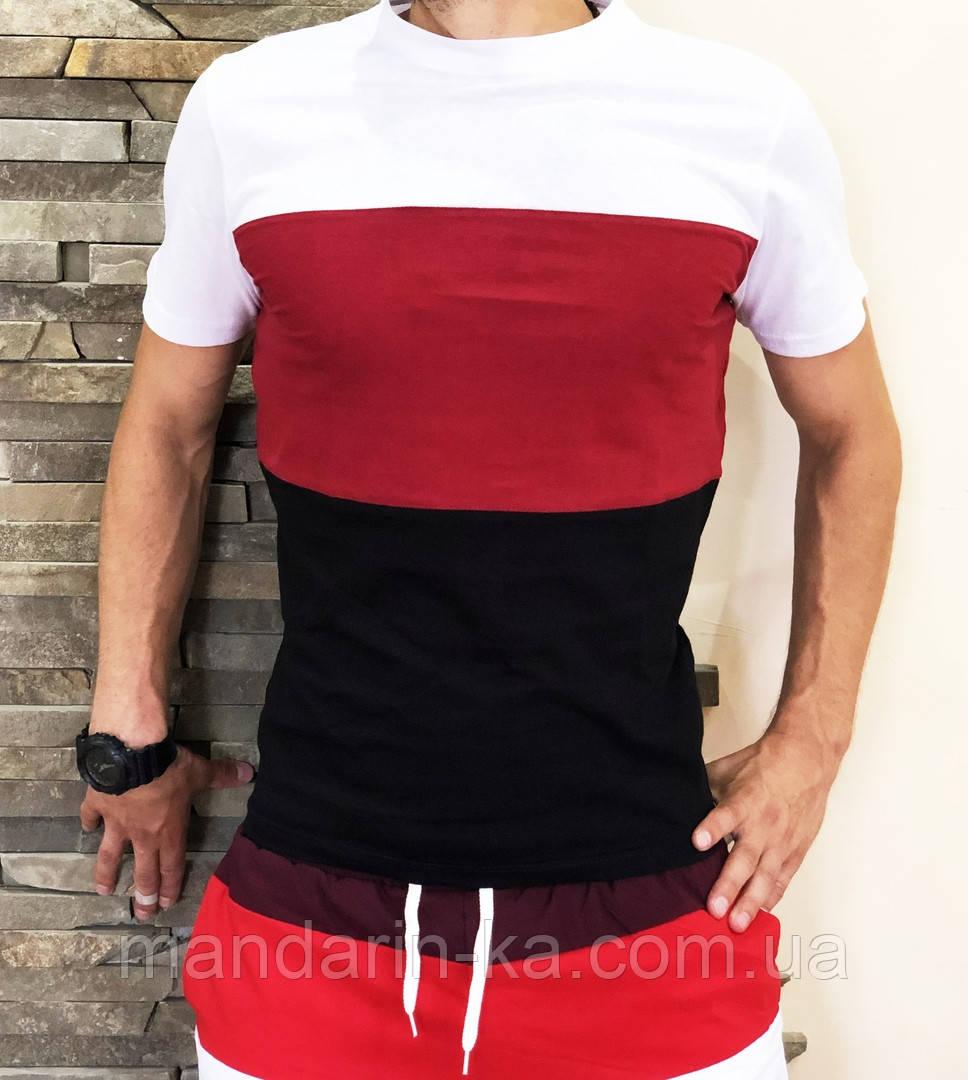 Мужская  футболка яркая в  полоску
