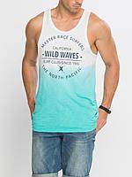 Бело-бирюзовая мужская майка Lc Waikiki / Лс Вайкики с надписью Wild Waves, фото 1