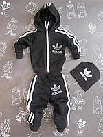 Детский черный спортивный костюм в стиле Adidas для мальчика на рост 74-122 см