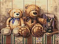 "Картина по номерам по дереву. ""Медвежата"" ASW020"