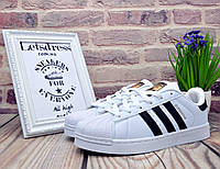 """Кроссовки Adidas Superstar """"Black Stripes"""" женские подростковые белые  Адидас Суперстар  Вьетнам 37"""