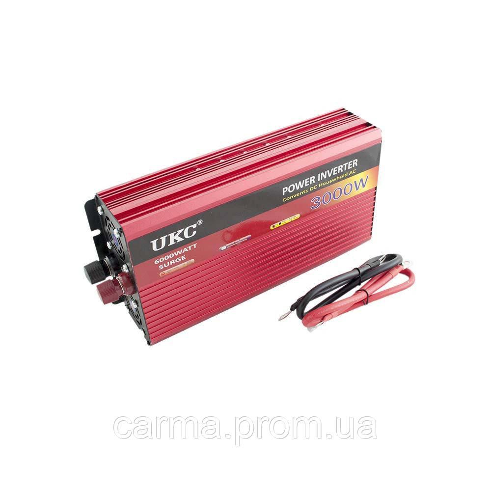 Профессиональный преобразователь инвертор UKC 3000W AR AC/DC 12V