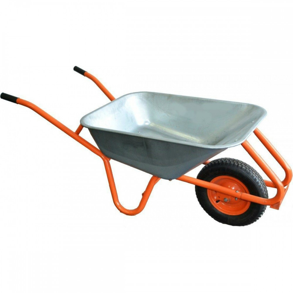 Тачка садовая, пенорезиновое колесо оцинкованная 90л 200кг