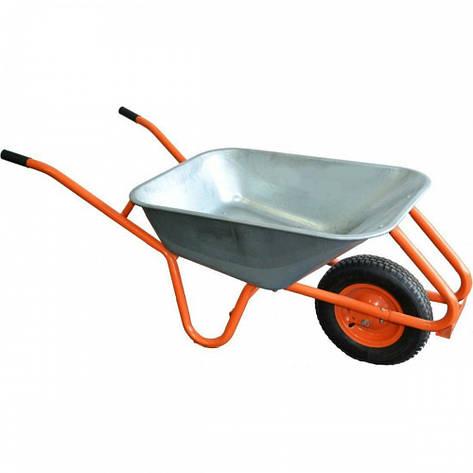 Тачка садовая, пенорезиновое колесо оцинкованная 90л 200кг, фото 2