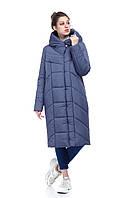 Женское модное пальто в плащевке атлас пуховик зимний ниже колена 42-54 большие размеры