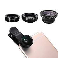 Набор объективов, линз (3 шт) для телефона Fisheye, macro, wide «NanoPic» в черном цвете
