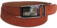 Брючный мужской замшевый ремень Skipper 5582 коричневый  ДхШ: 121х3,5 см.