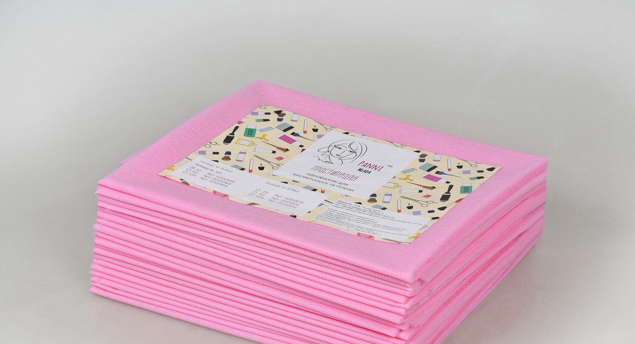 Одноразовые простыни в пачке Спанбонд Panni Mlada 20 г/м² 0,8x2 м 20 ШТ/УП Розовые