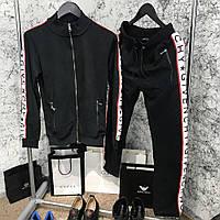 Мужской спортивный костюм Sport Suit Givenchy Side Bands Black черный с лампасами