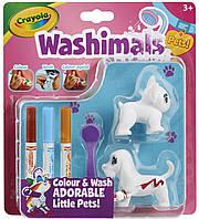 Набор с фигурками животных и фломастерами Рисуй и смывай (2 собачки), Washimals, Crayola
