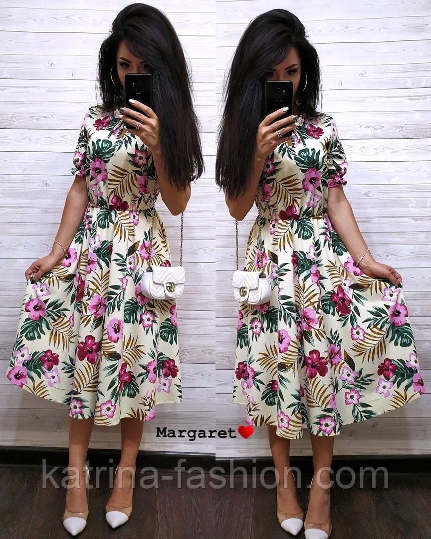 Женский летнее платье-миди в расцветках (в расцветках)