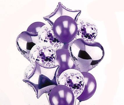 Набор фольгированных и воздушных шаров с конфетти Фиолетовый . 14 шт. Китай