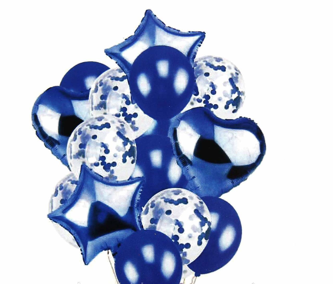 Набір фольгованих і повітряних куль з конфетті Синій .14 шт. Китай