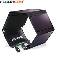Солнечная панель Floureon 28 Вт 4 секции, складная, Выход 5В 2,4А. 3 USB 900x290 мм рабочее сост. вес 956 гр
