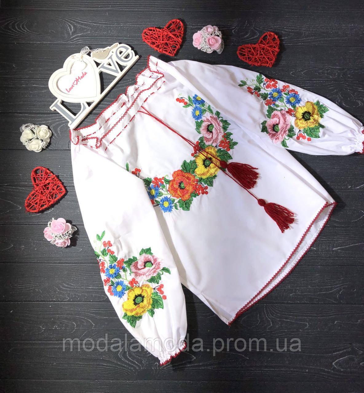 Вышиванка нарядная с цветами для девочки- подростка