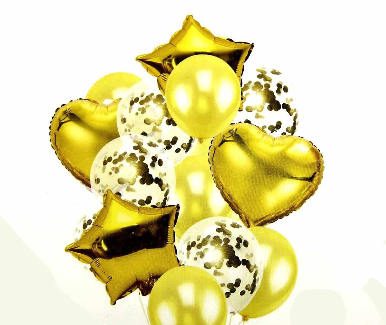 Набір фольгованих і повітряних куль з конфетті Золото .14 шт .Китай