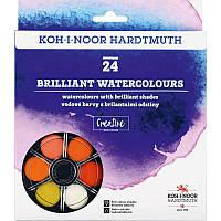 Краски акварельные Koh-i-Noor, бриллиант. оттенки, круглая пласт. упаковка, б/к, 24 цв. (1745)