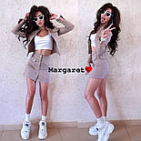 Женский джинсовый костюм: жакет и юбка на пуговицах (в расцветках), фото 3