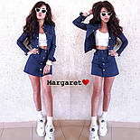 Женский джинсовый костюм: жакет и юбка на пуговицах (в расцветках), фото 8