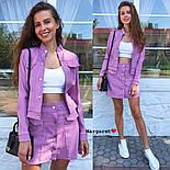 Женский джинсовый костюм: жакет и юбка на пуговицах (в расцветках), фото 9
