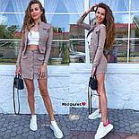 Женский джинсовый костюм: жакет и юбка на пуговицах (в расцветках), фото 10