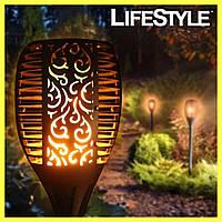 Садовый солнечный фонарь с ефектом огня в виде факела GB156