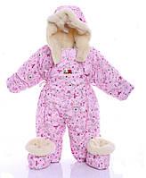 Детский комбинезон трансформер зимний (розовый с принцессами)
