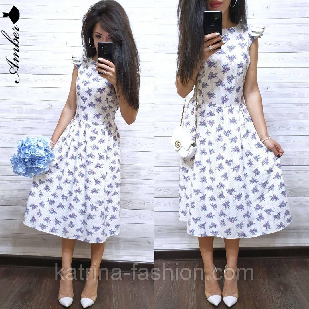 Женский летнее платье-миди софт (в расцветках)