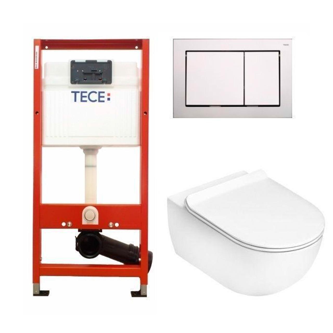 Установочный модуль TECE base 4 в 1 с клавишей Base + унитаз Flaminia APP Goclean Slim