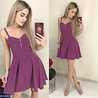 Женское платье норма в горох размеры S, M, L, XL   цвет марсала Украина