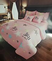 Ткань Бязь Gold Stars pink  220 см