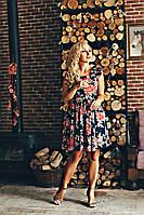 Летнее цветочное платье с отризной талией размеры 42,44,46