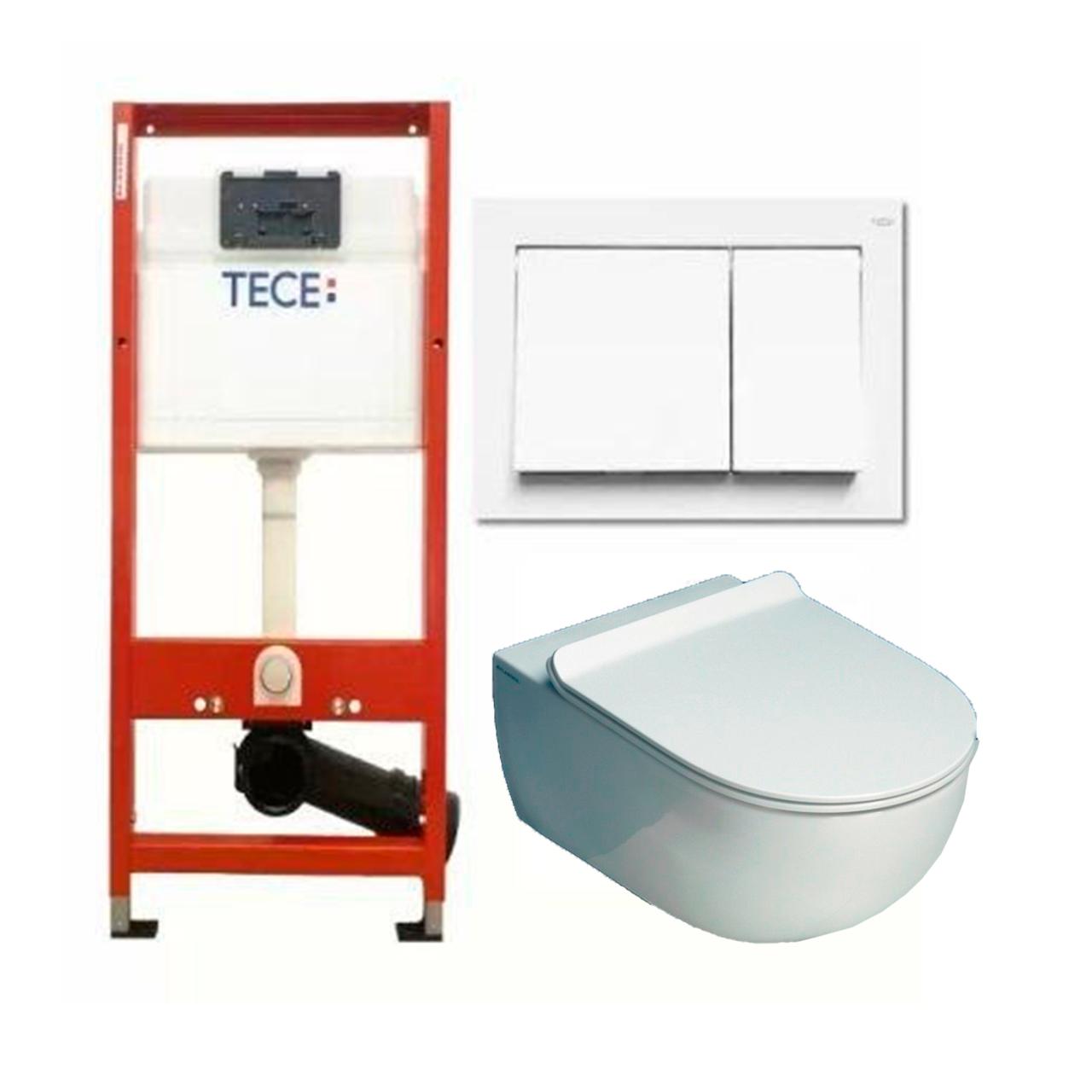 Установочный модуль TECE base 4 в 1 c клавишей Base + унитаз Flaminia APP Goclean Slim