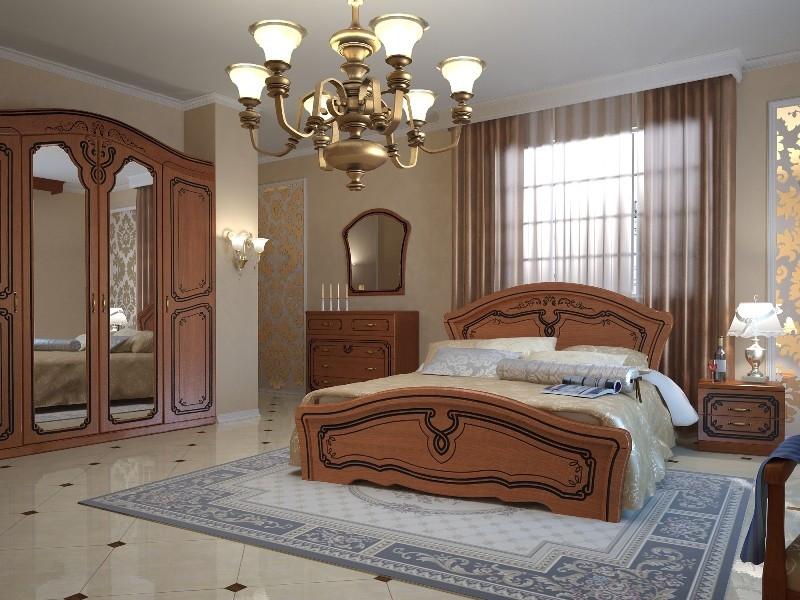 Ліжко Неман АЛЬБА Н-210 горіх+коричнева патина