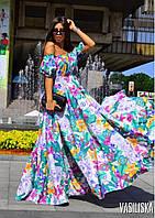 Женское платье в пол с ярким цветочным принтом, в расцветках. ВВ-3-0719