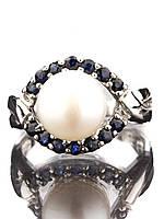 Кольцо серебряное с жемчугом и сапфиром, фото 1