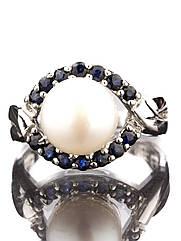 Кольцо серебряное с жемчугом и сапфиром