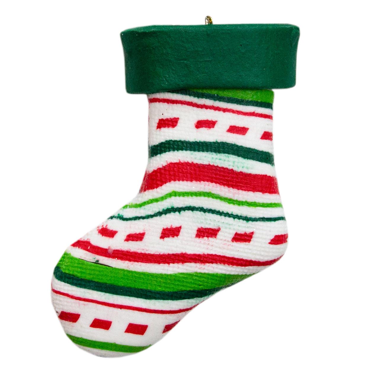 Новогодняя елочная игрушка - фигурка Новогодний носок, h-8 см, разноцветный, полирезин (000661-2)