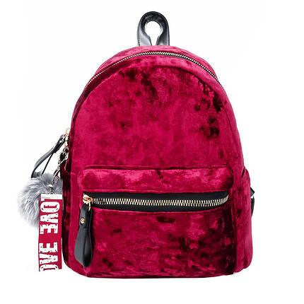 Рюкзак женский велюровый Amelie Velor Red, фото 2