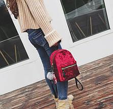Рюкзак женский велюровый Amelie Velor Red, фото 3