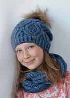 Зимняя вязанная шапка. Размеры: 52/54/56